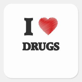 Eu amo drogas adesivo quadrado