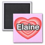 Eu amo Elaine. Eu te amo Elaine. Coração Imãs De Refrigerador