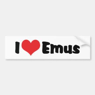 Eu amo Emus do coração - amante do Emu & da Adesivo De Para-choque