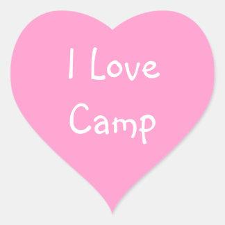 Eu amo etiquetas do acampamento adesivo coração