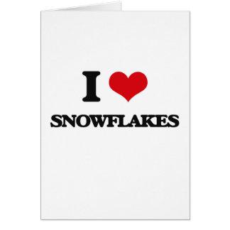 Eu amo flocos de neve cartão comemorativo