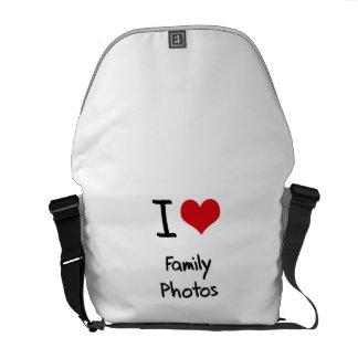 Eu amo fotos de família bolsas mensageiro