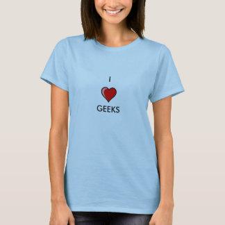 Eu amo geeks camisetas