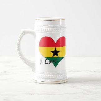Eu amo Ghana Caneca De Cerveja