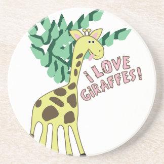 Eu amo girafas! porta copos de arenito