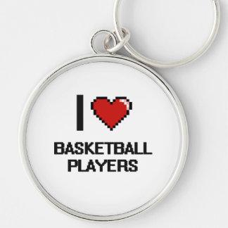 Eu amo jogadores de basquetebol chaveiro redondo na cor prata