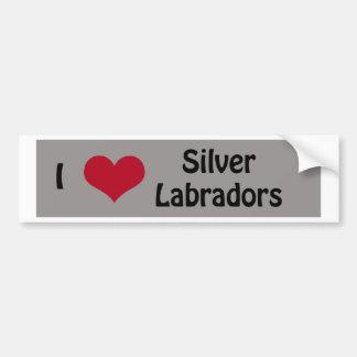 Eu amo Labradors de prata Adesivo Para Carro