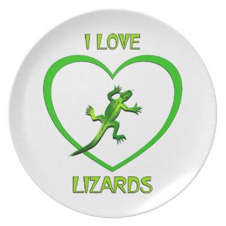 Eu amo lagartos prato de festa