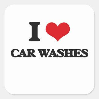 Eu amo lavagens de carros adesivo quadrado