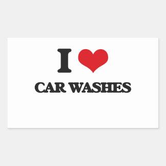 Eu amo lavagens de carros adesivo em formato retângular