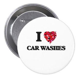 Eu amo lavagens de carros bóton redondo 7.62cm