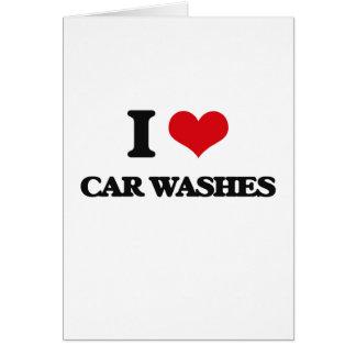 Eu amo lavagens de carros cartão