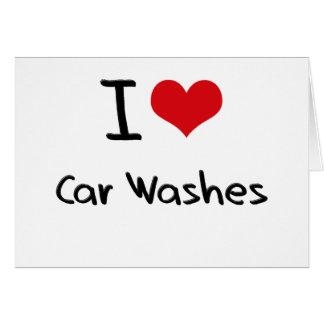 Eu amo lavagens de carros cartoes