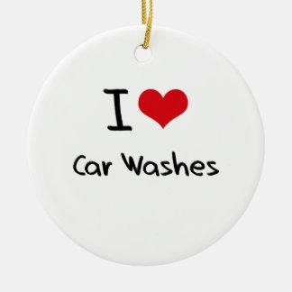 Eu amo lavagens de carros ornamento para arvore de natal