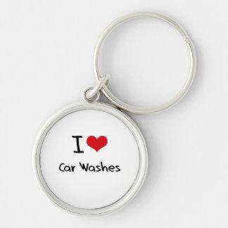 Eu amo lavagens de carros chaveiro redondo na cor prata