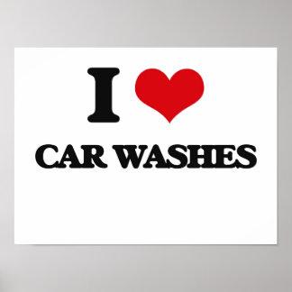Eu amo lavagens de carros pôsteres