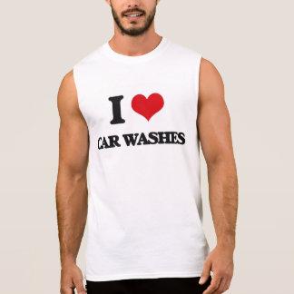 Eu amo lavagens de carros camisa sem mangas