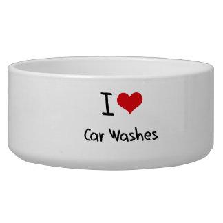 Eu amo lavagens de carros tijela para água para cachorros