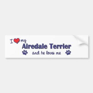 Eu amo meu Airedale Terrier (o cão masculino) Adesivo Para Carro