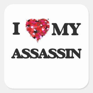 Eu amo meu assassino adesivo quadrado