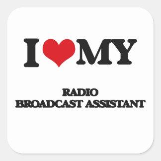 Eu amo meu assistente da emissão de rádio adesivos quadrados
