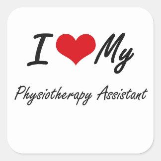 Eu amo meu assistente da fisioterapia adesivo quadrado