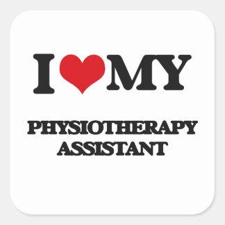 Eu amo meu assistente da fisioterapia adesivos quadrados