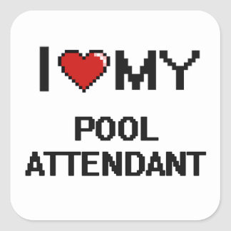 Eu amo meu assistente da piscina adesivo quadrado