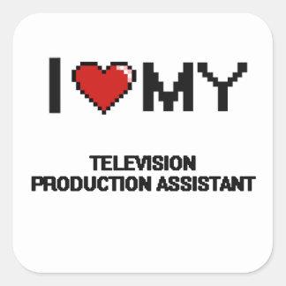 Eu amo meu assistente da produção da televisão adesivo quadrado