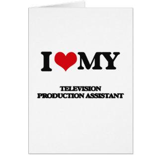 Eu amo meu assistente da produção da televisão cartão comemorativo