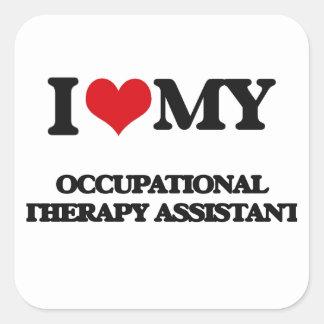 Eu amo meu assistente da terapia ocupacional adesivos quadrados