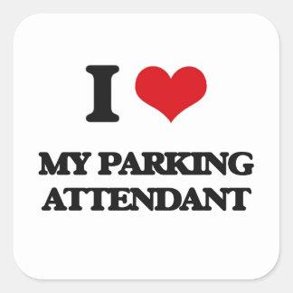 Eu amo meu assistente de estacionamento adesivo quadrado