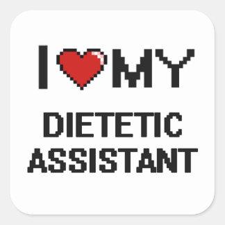 Eu amo meu assistente dietético adesivo quadrado