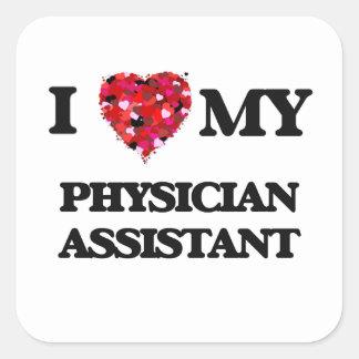 Eu amo meu assistente do médico adesivo quadrado