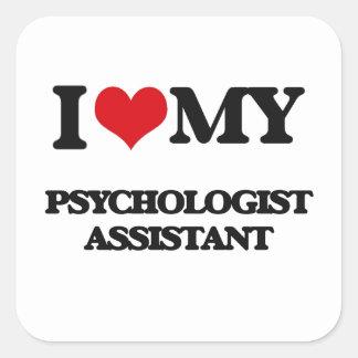Eu amo meu assistente do psicólogo adesivo em forma quadrada