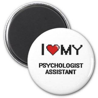 Eu amo meu assistente do psicólogo ímã redondo 5.08cm