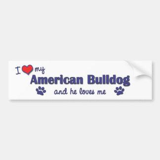 Eu amo meu buldogue americano (o cão masculino) adesivo para carro