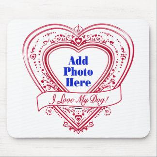 Eu amo meu cão! Corações do vermelho da foto Mousepads