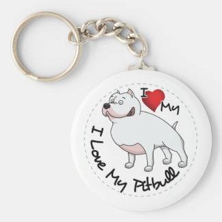 Eu amo meu cão de Pitbull Chaveiro