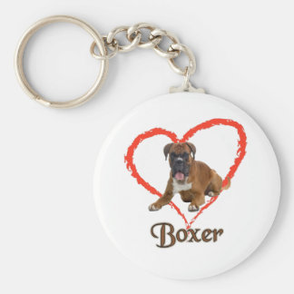 Eu amo meu cão do pugilista chaveiro