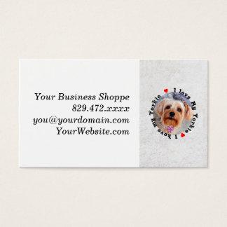 Eu amo meu cão fêmea do yorkshire terrier de cartão de visitas