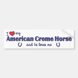 Eu amo meu cavalo americano do creme (o cavalo mas adesivo para carro