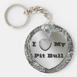 Eu amo meu chaveiro do coração do pitbull