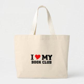 Eu amo meu clube de leitura sacola tote jumbo