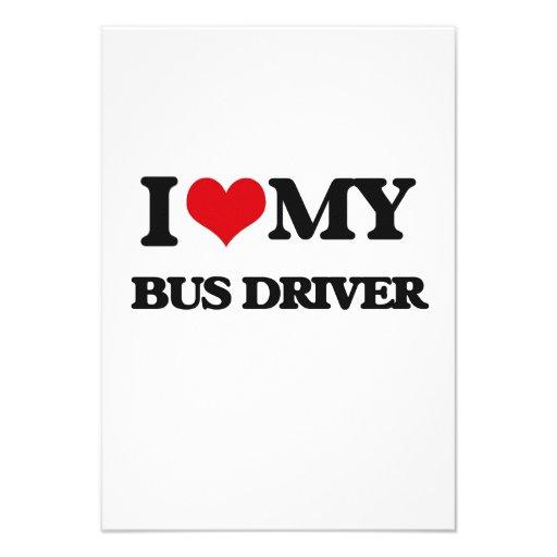 Eu amo meu condutor de autocarro convites personalizado