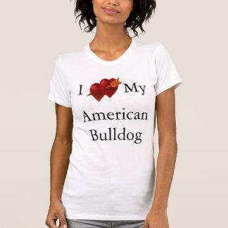 Eu amo meu coração americano do dobro do buldogue tshirt