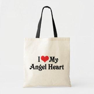 Eu amo meu coração do anjo sacola tote budget