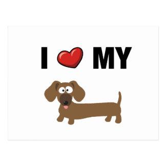 Eu amo meu dachshund cartão postal