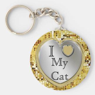 Eu amo meu gato ou? Chaveiro do coração