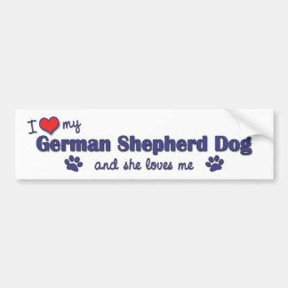 Eu amo meu german shepherd (o cão fêmea) adesivo para carro